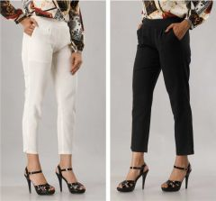 Fearless Fashion Regular Fit Women White Cotton Blend Trousers For Casual Occasion (Black & White) (Pack of 2)