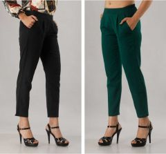 Fearless Fashion Regular Fit Women White Cotton Blend Trousers For Casual Occasion (Black & Green) (Pack of 2)