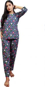 Fearless Fashion Night Wear Pure Cotton Night Suit Set For Women (Multi-Color) (Pack of 1)