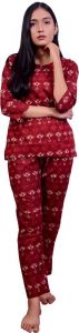 Fearless Fashion Night Wear Pure Cotton Printed Night Suit Set For Women (Maroon) (Pack of 1)