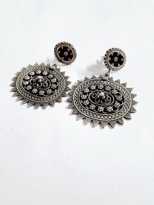 Exclusive Vj 925 Silver Oxidized Horizontal Oval Earrings