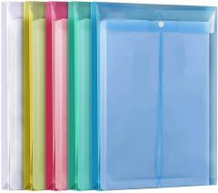 Generic A4 Legal Size Top Opening Document File Bag | Colored Envelope Holder Storage Case | Snap Button Organizer | My Clear Plastic Container (Pack of 10)