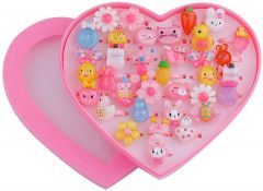 Homeoculture Cute Cartoon Finger Ring In Heart Shape Box For Girls (Pack of 36)