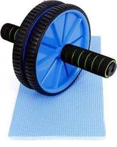 Fit Tube Ab Wheel AA Ab Exerciser with Padded Grip Ab Exerciser Double Wheel (6 MM Safe Knee Mat)