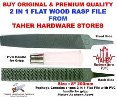 Ths 2 In 1 Steel Flat Rasp File For Carpentry Wood Working Hand Tool For Wood Plastic & Metal With Pvc Handle Size 8 200Mm (Pack Of 1)