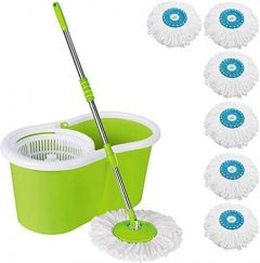 Mop Floor Cleaner with Bucket Set Offer with Big Wheels 360 Degree Easy Cleaning with This, Free 6 Micro Fiber (Pack of 1)