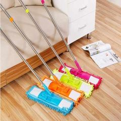 Wet And Dry Cleaning Flat Microfiber Floor Cleaning Mop With Telescopic Handle Dry Mop Standard (Multicolour) (Pack of 1)