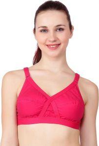 Floret Full Coverage Lightly Padded Cross-Fit Bra For Women & Girls (Pink)