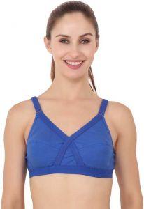 Floret Full Coverage Lightly Padded Cross-Fit Bra For Women & Girls (Blue)