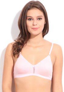 Floret Women T-Shirt Non Padded, Adjustable Shoulder Straps Bra (Pink)