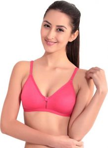 Floret Solid Women Non Padded Medium Coverage T-Shirt Bra For Sports (Pink)