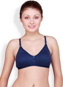 Floret Solid Women Medium Coverage Non Padded T-Shirt Bra For Sports & Casual (Dark Blue)