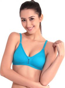 Floret Solid Women Medium Coverage Non Padded T-Shirt Bra For Sports & Casual (Blue)