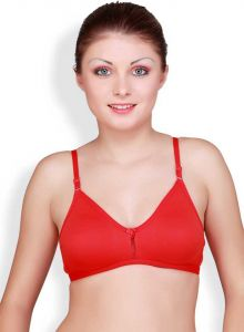 Floret Solid Women Sports Lightly Padded Medium Coverage T-Shirt Bra For Sports & Casual (Red)