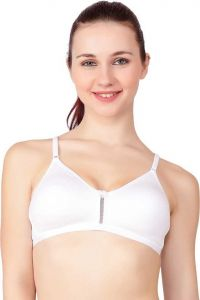 Floret Women Solid Non Padded Medium Coverage T-Shirt Bra For Sports & Casual (White)
