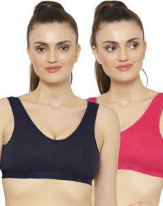 Floret Women Cotton Blend Sports Non Padded Full Coverage Bra (Dark Blue & Magenta) (Pack Of 2)