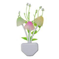 Night Lamps White Flower Pot Color Changing Light & Mushrooms Light Sensor LED Decorative