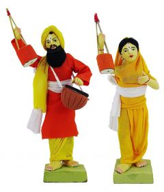 Simonart and Printing Terracotta Figurines Showpiece Folk Singer For Home Decoration (Multi-Color) (Pack of 1)