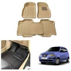 After Cars Cream Carpet Floor/Foot 4D Mats for Hyundai Santro Xing ERLX