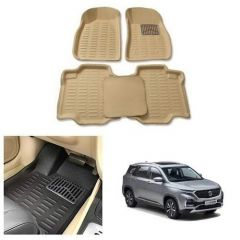 After Cars Cream Carpet Floor/Foot 4D Mats for MG Hector