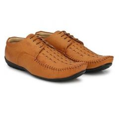 Stylish and Comfortable Solid Lace Up Formal Shoes For Men's (Brown) (Pack of 1)