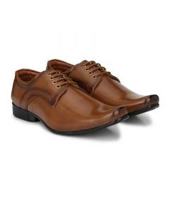 Stylish and Comfortable Solid Lace Up Formal Shoes For Men's (Tan) (Pack of 1)
