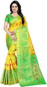 Woven Dharmavaram Cotton Silk Saree  (Yellow)