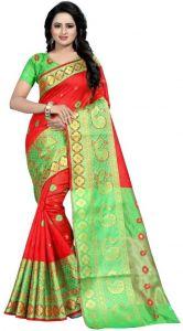 Self Design Banarasi Cotton Silk Saree(Red/Green)