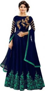 BipinEnterprises Embroidered Satin Blend Semi Stitched Anarkali Gown For Women (Free Size) | (Blue & Green)