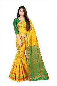 Self Design Banarasi Cotton Silk Saree (Yellow/Green)