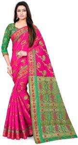 Self Design Fashion Cotton Silk Saree (Pink)