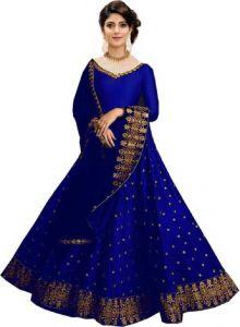 Jankisilkmill Embroidered Semi Stitched Lehenga, Choli and Dupatta Set (Dark Blue)