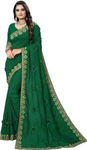 Avsar Trendz Heavy Embroidered Applique Fashion Tussar Silk Saree (Dark Green)
