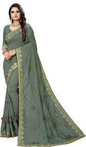 Avsar Trendz Heavy Embroidered Applique Fashion Tussar Silk Saree (Grey)