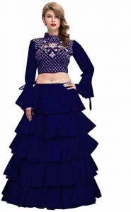 Self Design Semi Stitched Lehenga Choli (Dark Blue)