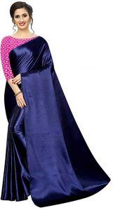 Solid Bollywood Satin Blend Saree  (Dark Blue)