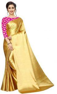 Solid Bollywood Satin Blend Saree