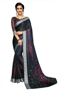 Graphic Print Fashion Cotton Jute Blend Saree