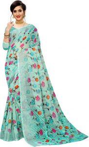 Floral Print Phulkari Cotton Linen Blend Saree (Green/Pink)