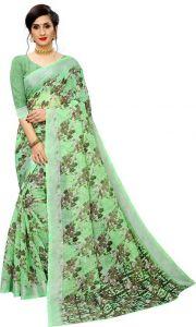 Floral Print Bollywood  Women's Cotton Jute Blend Saree