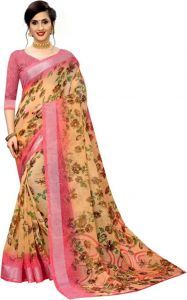 Solid Bollywood Cotton Linen Blend Saree (Brown/Pink)