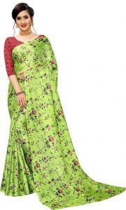 Floral Print Bollywood Cotton Jute Blend Saree(Light Green/Red)