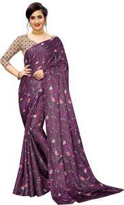 Floral Print Bollywood Cotton Jute Blend Saree (Purple)