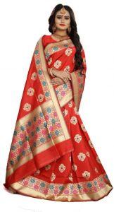 Embellished Venkatagiri Jacquard Saree  (Red)