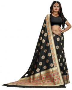 Embellished Venkatagiri Jacquard Saree(Black)