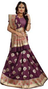 Self Design Banarasi Jacquard Saree  (Purple)