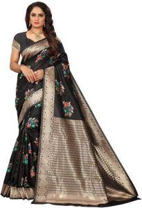 Embellished Banarasi Cotton Silk Saree(Black)