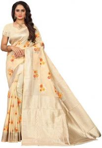 Embellished Tanchoi Viscose Blend Saree(Cream)