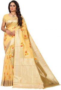 Embellished Kanjivaram Viscose Blend Saree(Yellow)