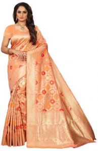 Embellished Kinkhab Silk Blend Saree  (Orange)
